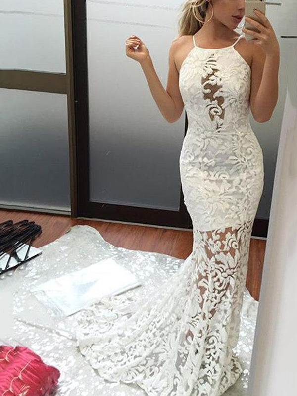 Floor-Length Sleeveless Trumpet/Mermaid Halter Hall Wedding Dress