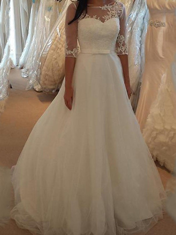 A-Line Sweep/Brush Half Sleeves Bateau Church Wedding Dress