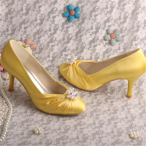 Stiletto Heel Round Toe Beads Slip-On Western High Heel Thin Shoes