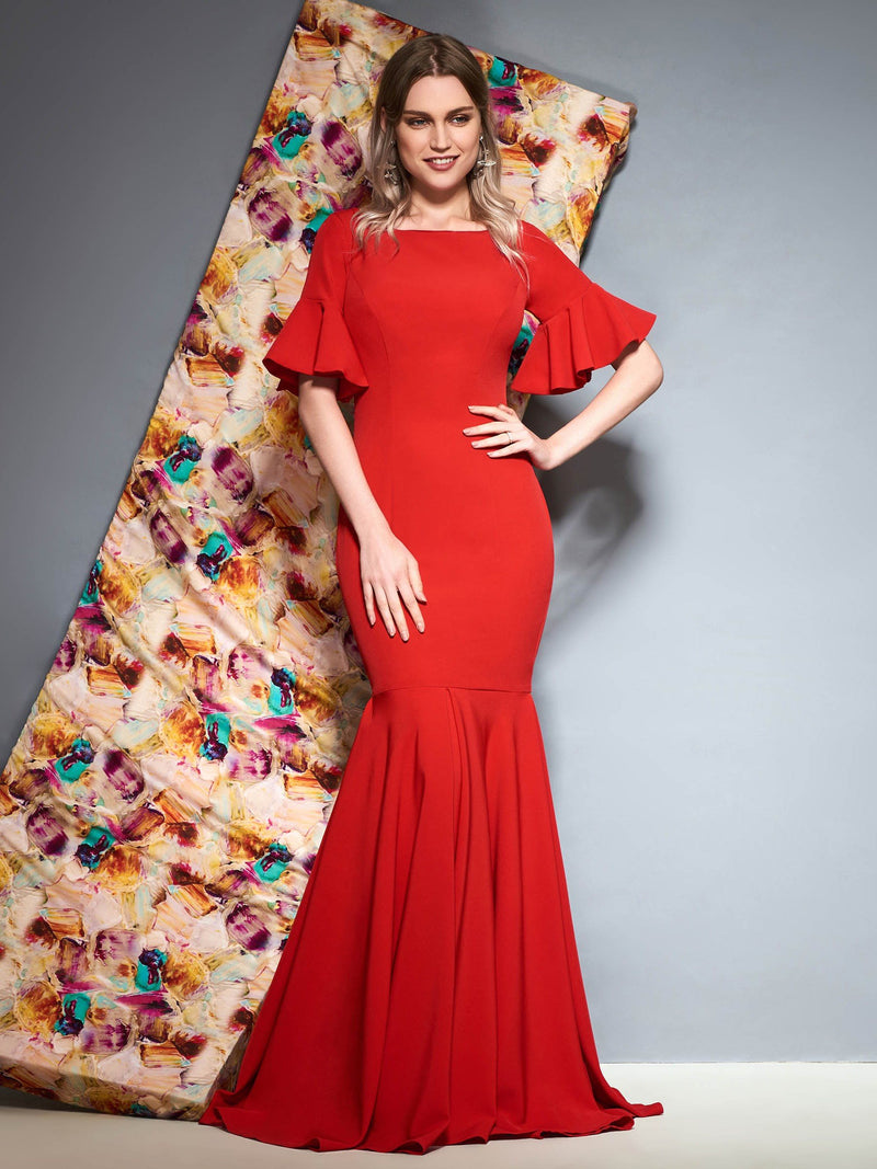 Square Ruffles Floor-Length Short Sleeves Evening Dress