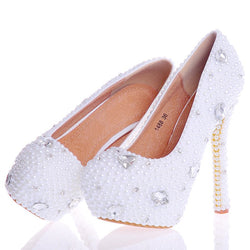 Thread Round Toe Stiletto Heel Slip-On Plain Banquet Thin Shoes