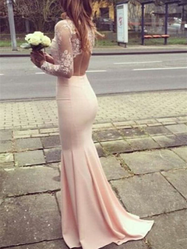 High Neck Trumpet/Mermaid Appliques Floor-Length Wedding Party Dress