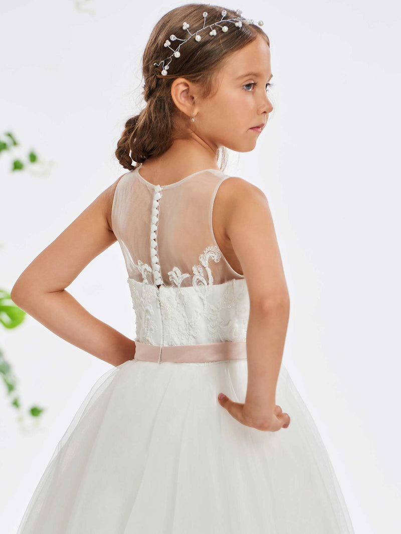 Beading Sleeveless A-Line Floor-Length Flower Girl Dress