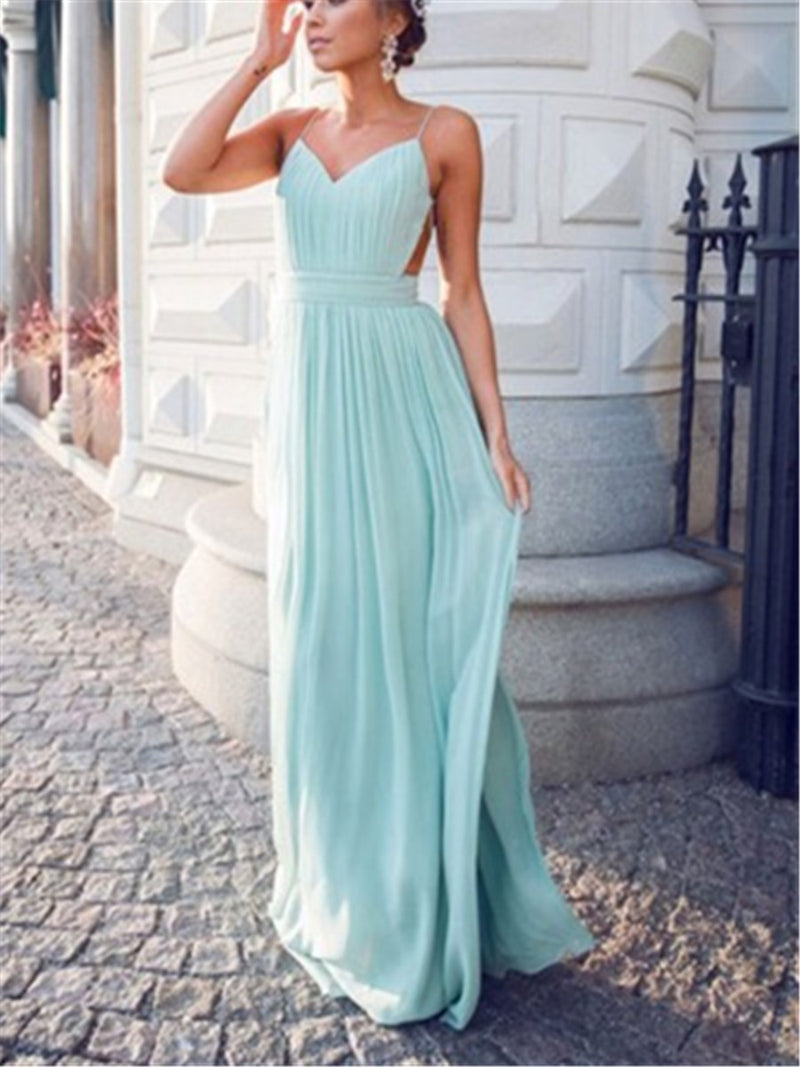 Spaghetti Straps Floor-Length A-Line Sleeveless Prom Dress