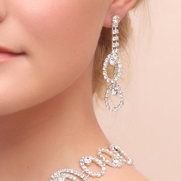 Diamante European Earrings Wedding Jewelry Sets
