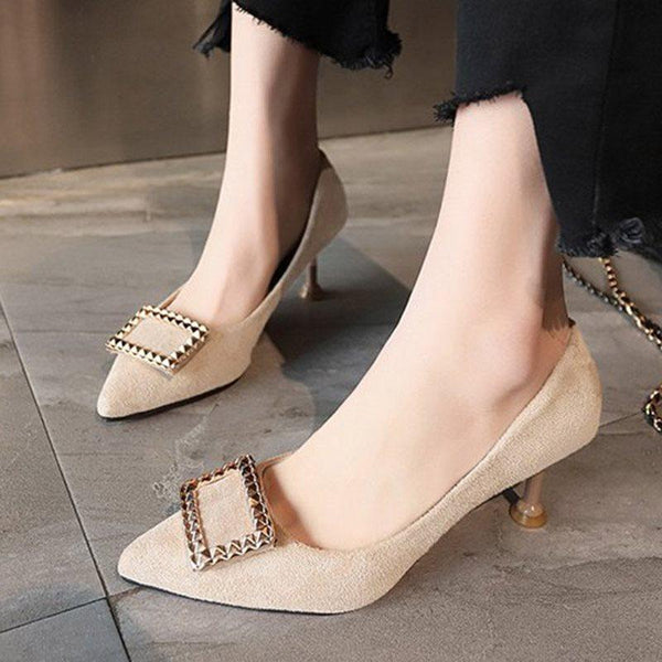 Slip-On Pointed Toe Stiletto Heel High Heel Low-Cut Upper Thin Shoes