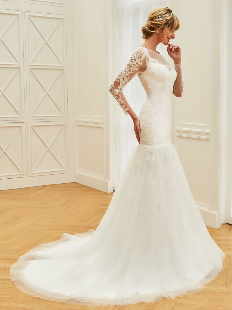 Trumpet/Mermaid Button Bateau Floor-Length Hall Wedding Dress