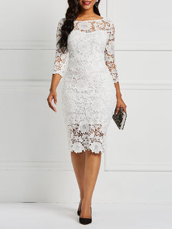 Knee-Length Three-Quarter Sleeve Lace Sexy Bodycon Dresses