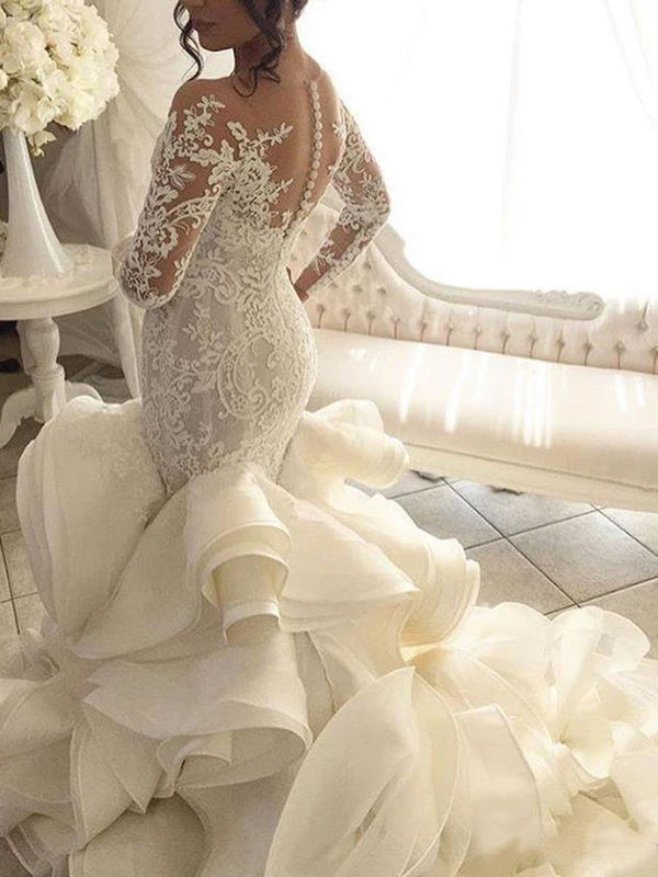 Long Sleeves Floor-Length Appliques Chapel Hall Wedding Dress