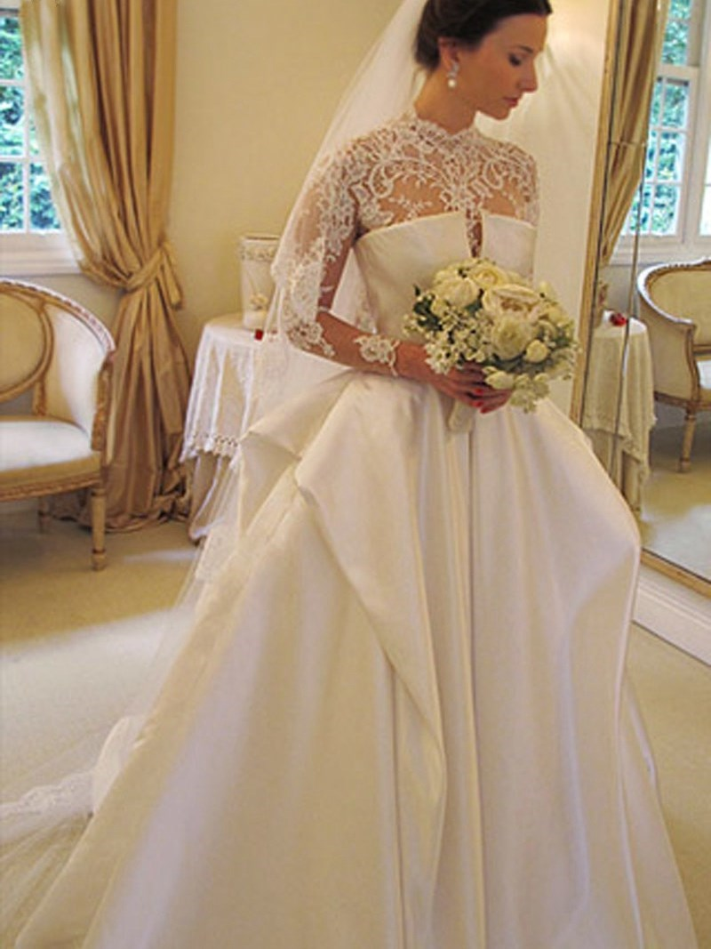 Long Sleeves Court Ball Gown Floor-Length Church Wedding Dress