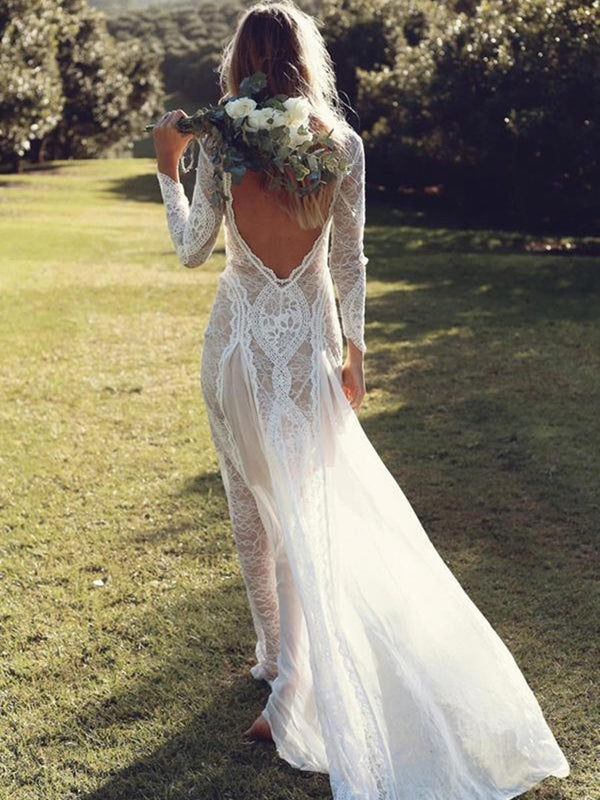 Lace Court Sheath/Column Long Sleeves Garden/Outdoor Wedding Dress