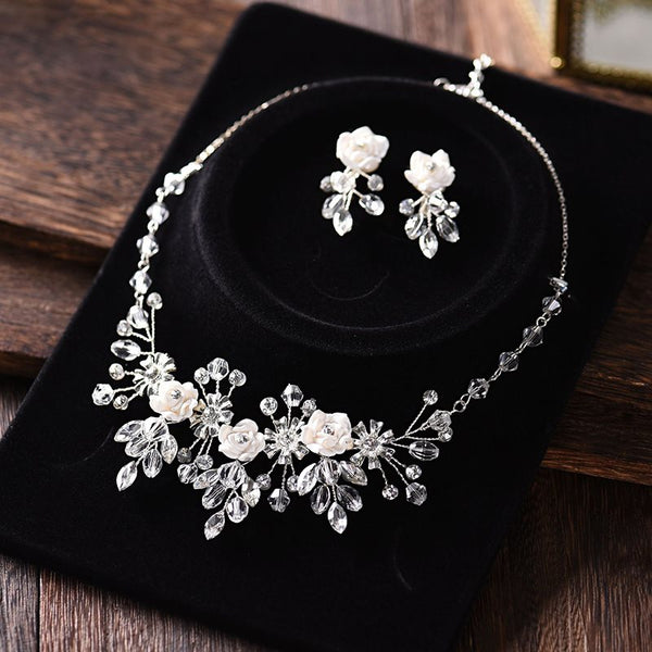 Crystal Inlaid Necklace European Jewelry Sets (Wedding)