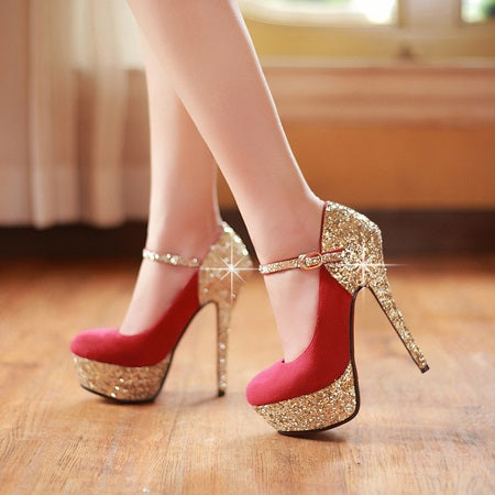 Pointed Toe Platform Stiletto Heel Line-Style Buckle 14cm Western Thin Shoes