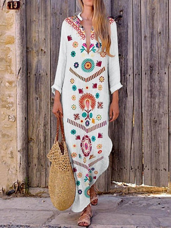 V-Neck Ankle-Length Print Fall Pullover Dress