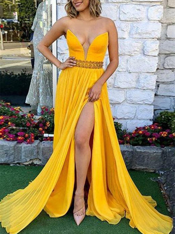 Strapless Sleeveless A-Line Floor-Length Evening Dress
