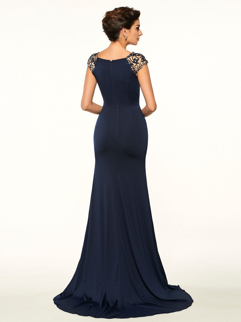 Trumpet/Mermaid Beading Floor-Length Cap Sleeves Formal Dress