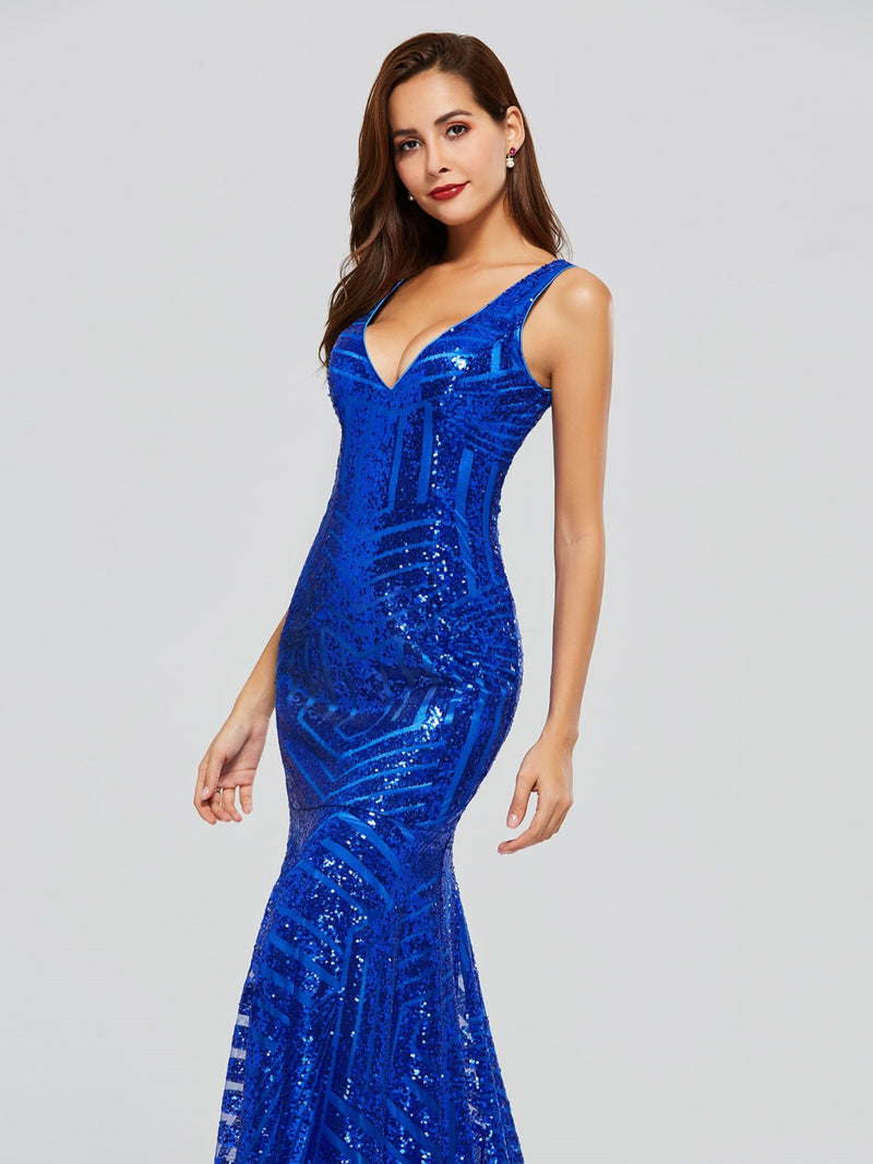 Floor-Length V-Neck Trumpet/Mermaid Sequins Evening Dress