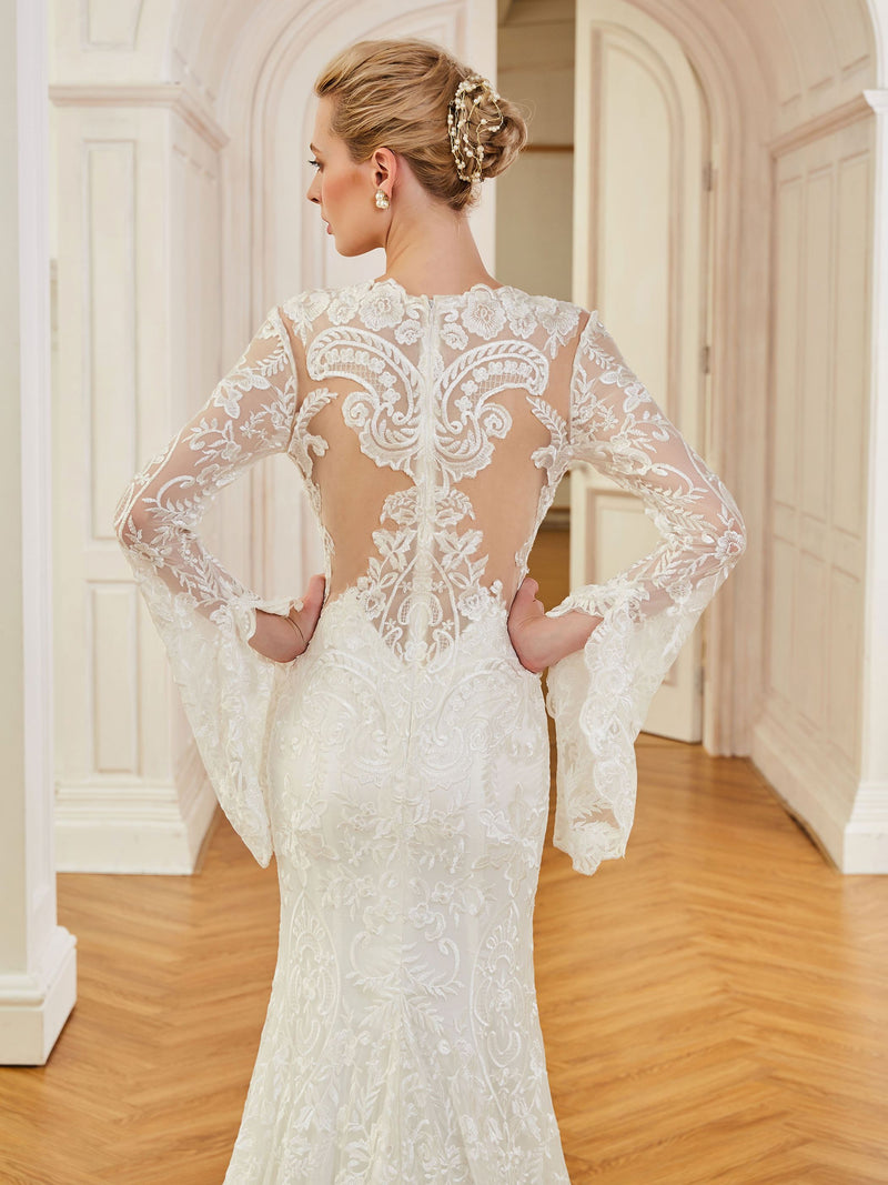 Jewel Floor-Length Long Sleeves Trumpet/Mermaid Hall Wedding Dress