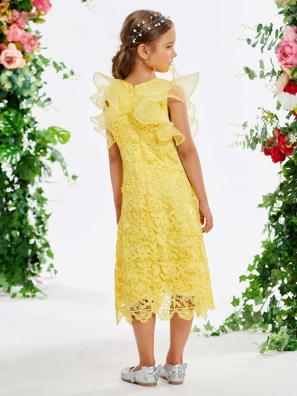 Tea-Length Jewel Sheath/Column Lace Flower Girl Dress