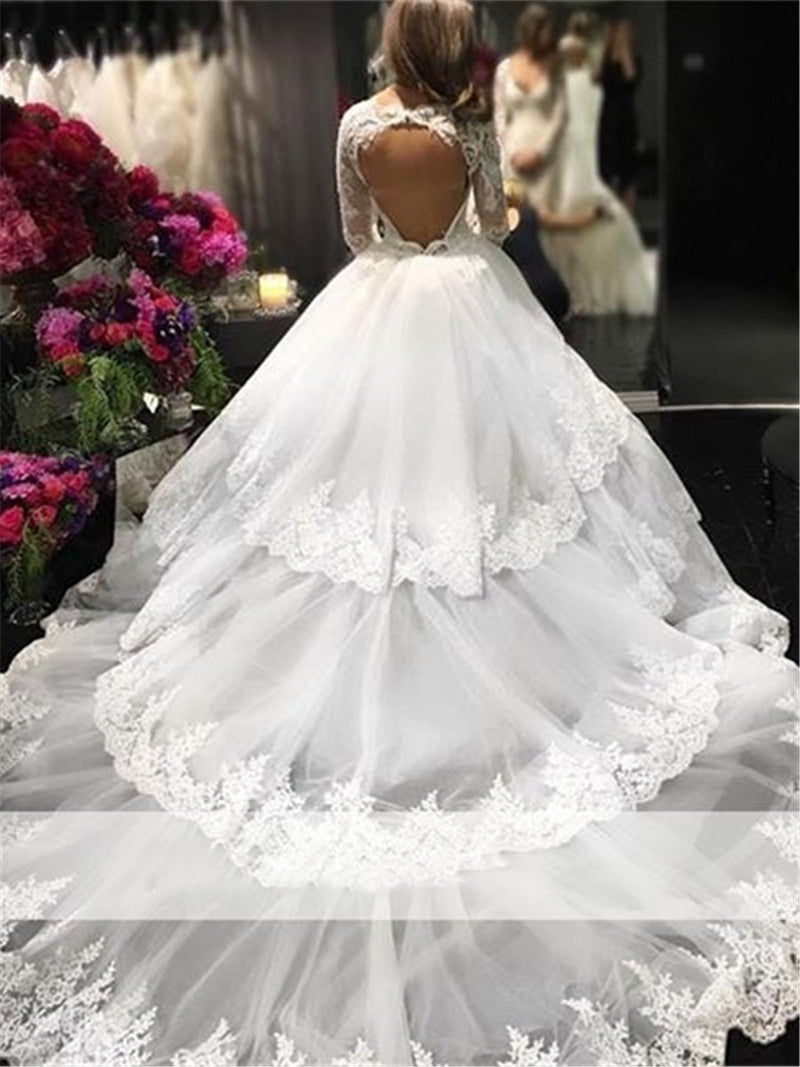 Ball Gown Floor-Length Cathedral Long Sleeves Church Wedding Dress