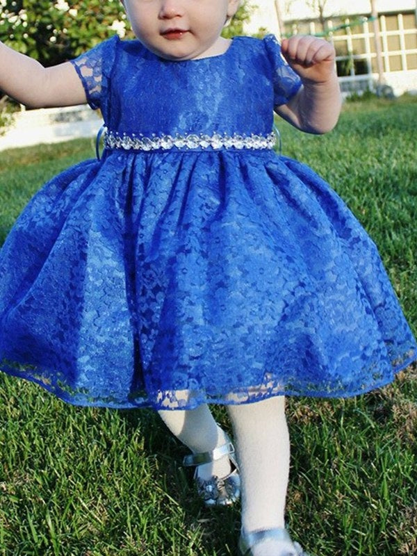 Lace Short Sleeves Knee-Length Ball Gown Flower Girl Dress