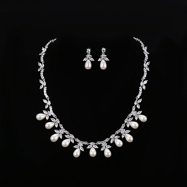 Pearl Inlaid Spherical Earrings Jewelry Sets (Wedding)