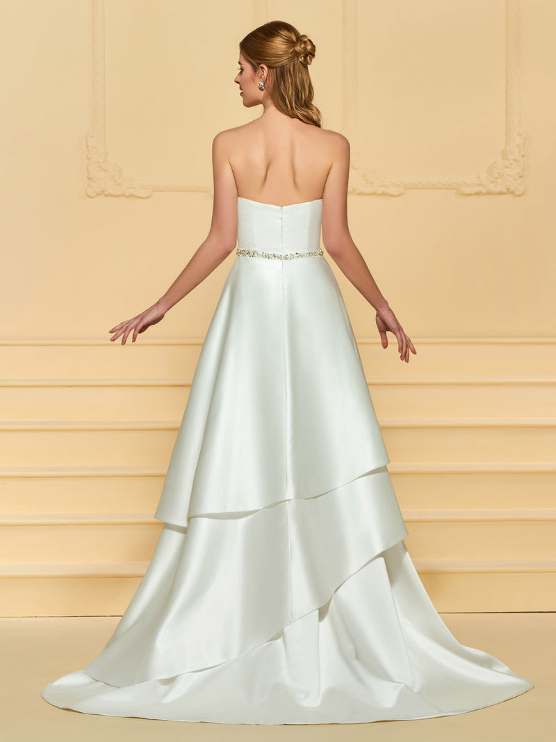 A-Line Bowknot Floor-Length Sweetheart Garden/Outdoor Wedding Dress