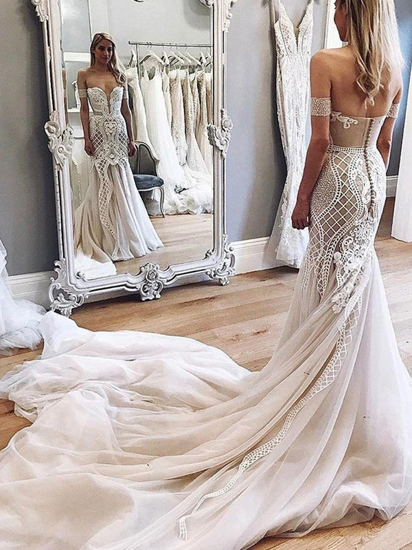 Off-The-Shoulder Court Trumpet/Mermaid Sleeveless Hall Wedding Dress