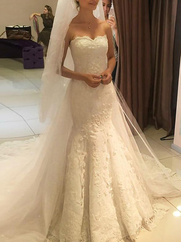 Trumpet/Mermaid Floor-Length Sleeveless Appliques Church Wedding Dress