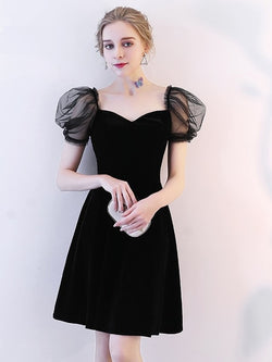 A-Line Short Sleeves Short/Mini Sweetheart Homecoming Dress