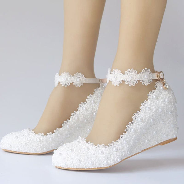 Round Toe Lace Line-Style Buckle Wedge Heel Low-Cut Upper Plain Thin Shoes