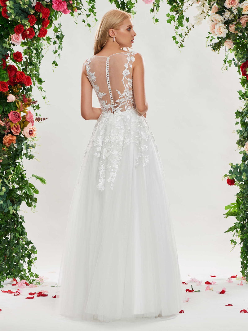 Sleeveless Scoop A-Line Floor-Length Church Wedding Dress