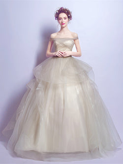 Floor-Length Off-The-Shoulder Ball Gown Pleats Quinceanera Dress