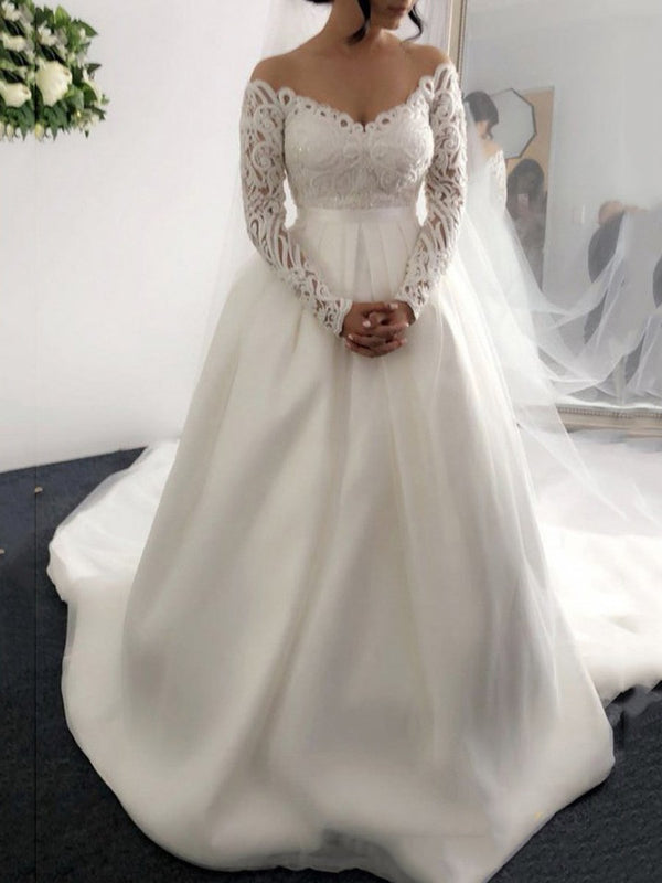 Court V-Neck Floor-Length Ball Gown Hall Wedding Dress