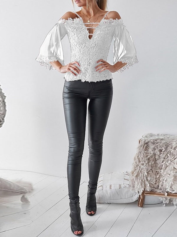 Lace Plain Standard Three-Quarter Sleeve Blouse