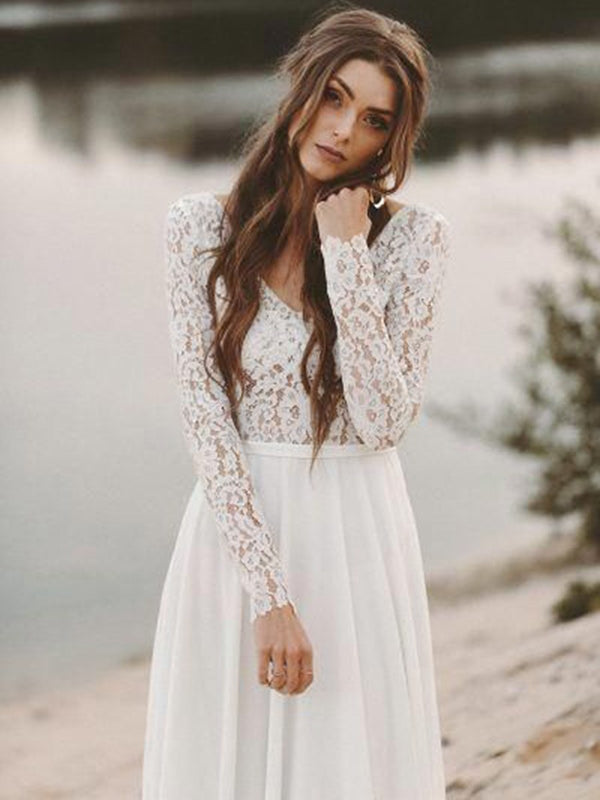 Sweep/Brush Long Sleeves V-Neck Lace Garden/Outdoor Wedding Dress