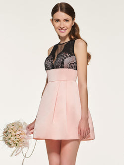 Short/Mini Scoop Sleeveless Button Wedding Party Dress