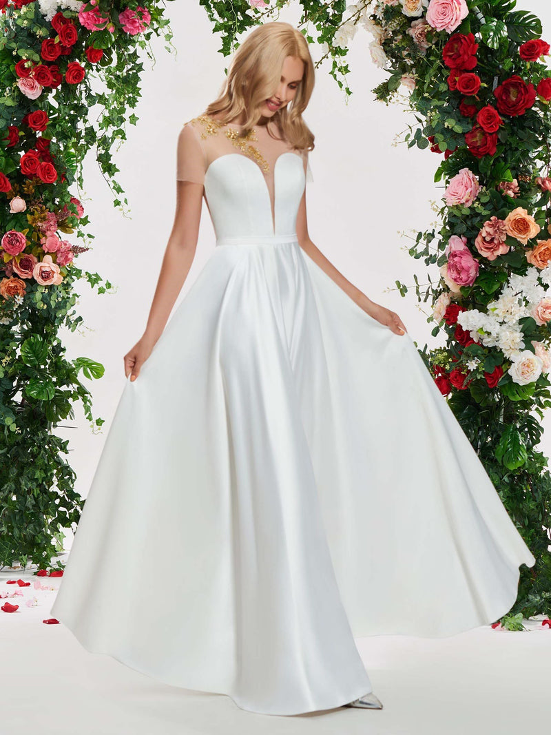 Scoop A-Line Appliques Floor-Length Garden/Outdoor Wedding Dress