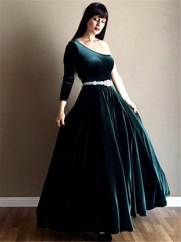 One Shoulder Long Sleeves Floor-Length Sashes/Ribbons Evening Dress