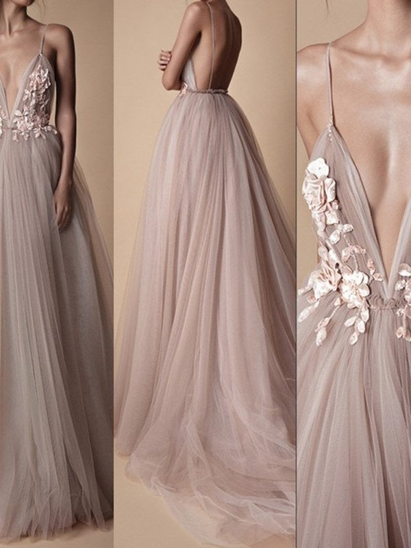 Straps A-Line Sweep/Brush Floor-Length Formal Dress