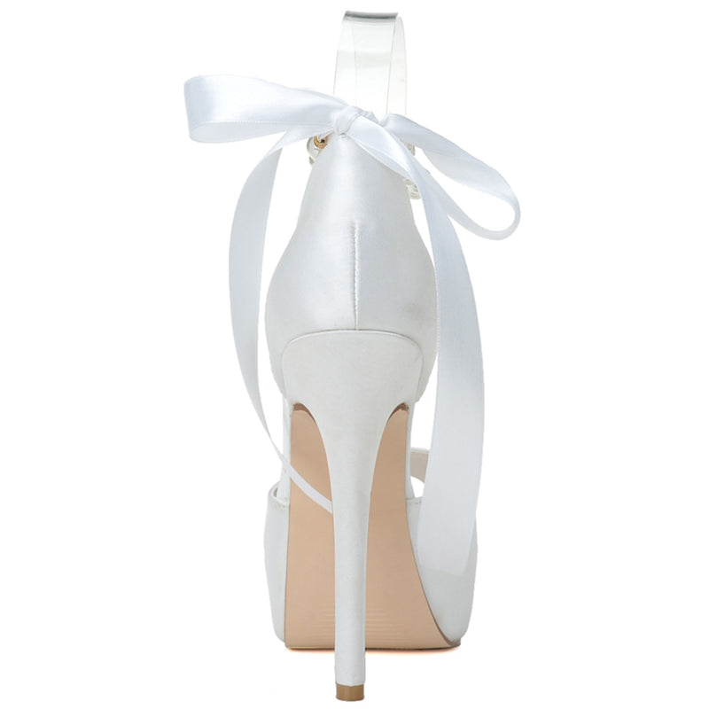 Peep Toe Beads Lace-Up Stiletto Heel Plain Wedding Thin Shoes