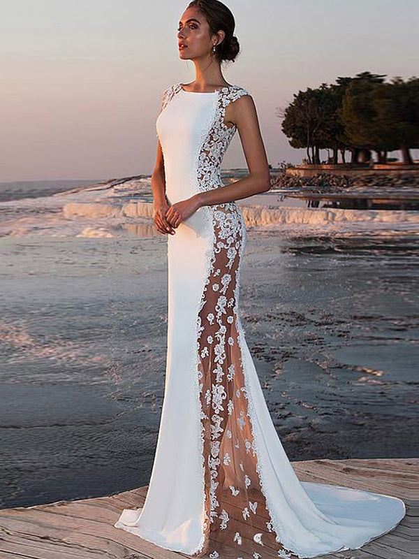 Trumpet/Mermaid Sleeveless Floor-Length Lace Evening Dress