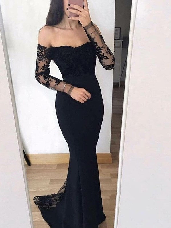 Sweep/Brush Lace Off-The-Shoulder Floor-Length Evening Dress