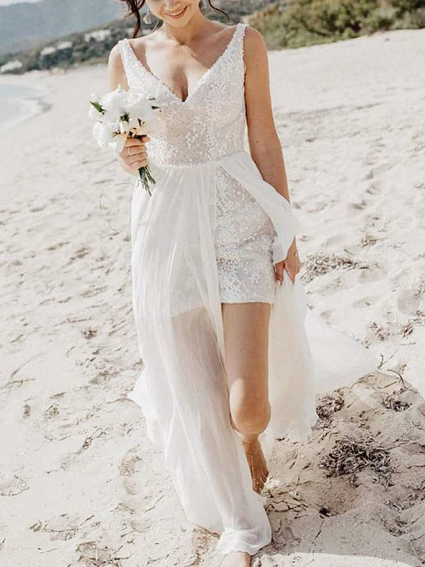 A-Line V-Neck Split-Front Sleeveless Beach Wedding Dress