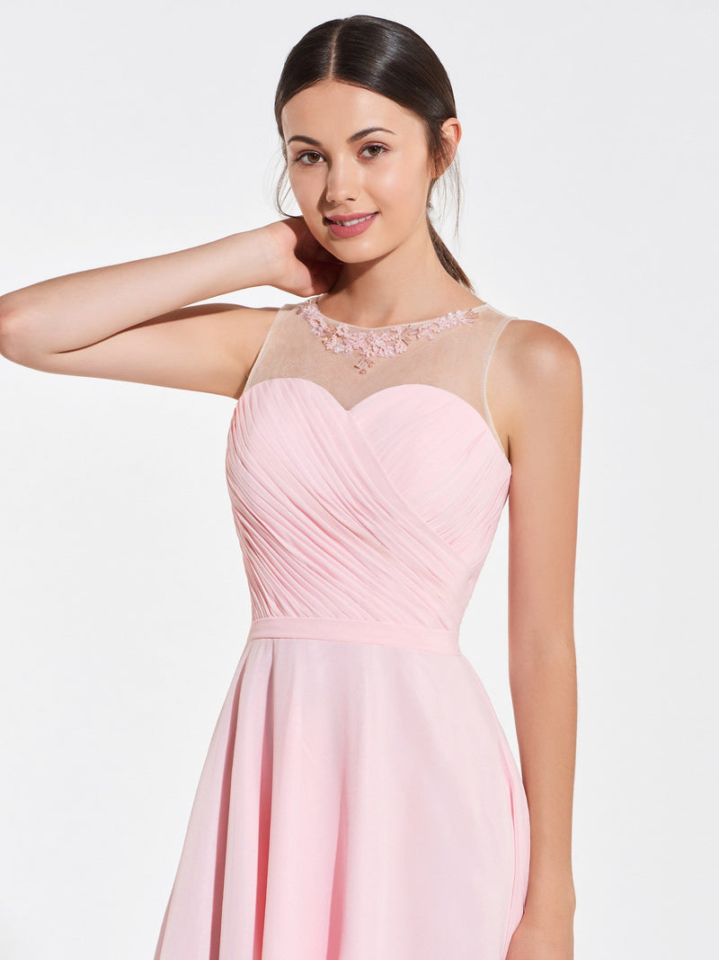Beading A-Line Jewel Sleeveless Prom Dress