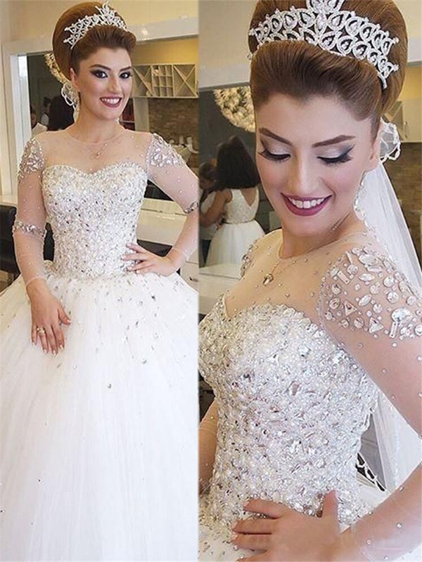 Long Sleeves Scoop Beading Floor-Length Beach Wedding Dress