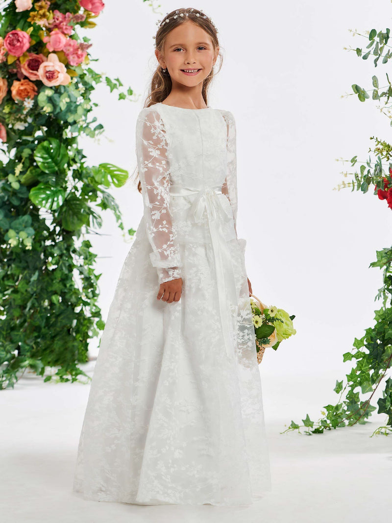 Long Sleeves Fall A-Line Lace Flower Girl Dress