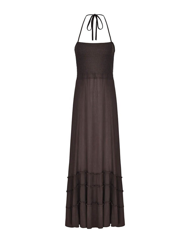 Pleated Ankle-Length Sleeveless Casual Plain Dress
