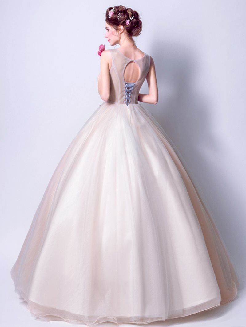 Embroidery Sleeveless Floor-Length Scoop Military Ball Dress