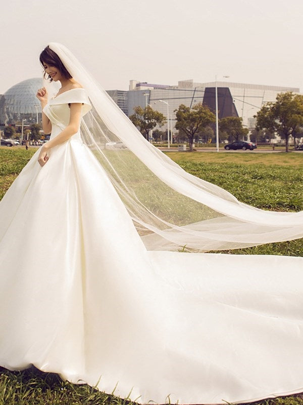 Floor-Length Off-The-Shoulder Cathedral A-Line Garden/Outdoor Wedding Dress